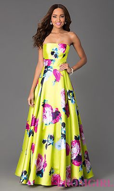 Floor Length Strapless Floral Print Dress at PromGirl.com