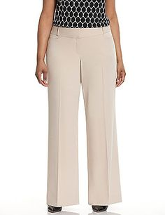 In smooth, soft twill for a rich look and crepe-like feel, our wide-leg pant exudes elegance in every step. Lena's easy-wearing fit and forgiving drape looks great on a curvy figure and dresses up or down effortlessly. Four pockets. Flattering wide waistband with inner button, bar & slide closure and zip fly.  lanebryant.com