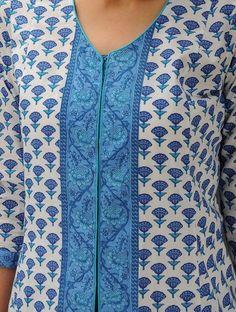 White-Blue Printed Bias-Cut Cotton Jacket