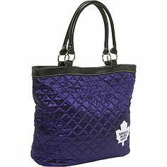 Toronto Maple Leafs Quilted Tote Toronto Maple Leafs, Nhl, Quilt Patterns, Hockey, Blue And White, Shoulder Bag, Purses, Lady, Women