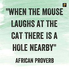 It goes without saying that the cat and the mouse are two animals which have no cordial relationship. Their unfriendly relationship is so normal to the point that it would be abnormal to see a them in a friendly posture. And it would be even more abnormal to see the mouse making fun of the cat. What would make a mouse act like that? Well, like in the Tom and Jerry cartoon, we know there` either a hole nearby or its set a trap for the cat. The lesson here is that when people suddenly begin to…