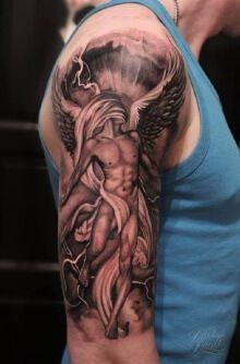 Upper Arm Angel Tattoo