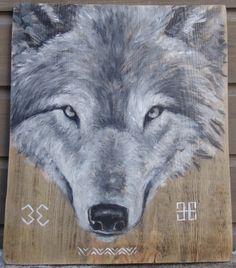 2015.02.2., Wood desk, 46 x 40 cm, acryl, varnish  Wolf's head with the Moon crosses and Maras zigzag (latvian national simbols)  Vilka galva ar Mēness krustiem un Māras līkloci