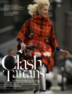 clash of the tartans: daphne groeneveld by hans feurer for vogue netherlands october 2013