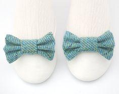Blue Tartan Shoe Clips. Tweed Shoe Clips. Plaid Shoe Clips in Blue Wool. Bow Clips. Blue Shoe Bows.. $10.00, via Etsy.