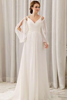 Taille Naturelle Forme Empire Manches Longues Robe de Mariée Luxueuse