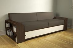 Another view of Modular Storage Sofa concept, with bookcase end and in walnut