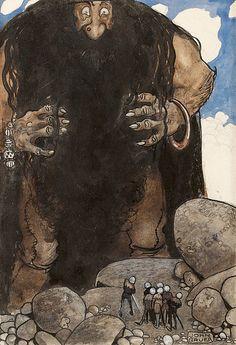 View Stormjätten, jordskakaren by John Bauer on artnet. Browse upcoming and past auction lots by John Bauer. John Bauer, High Fantasy, Medieval Fantasy, Fantasy Art, Edmund Dulac, Art Nouveau, Fairy Land, Fairy Tales, Kobold