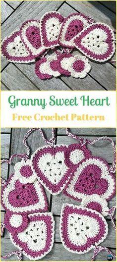 Crochet Granny Sweet Heart Free Pattern-Crochet Heart Applique Free Patterns #CrochetValentines