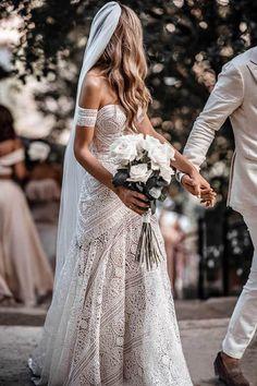 Ivory Rustic Boho Lace Sweetheart Neck Beach Wedding Dresses #bridalgowns #weddingdresses #weddingdresseslace #weddingdressescheap