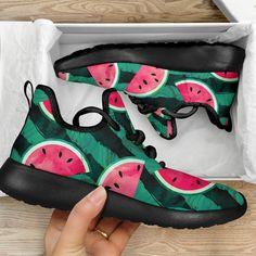 Green Striped Watermelon Pattern Print Mesh Knit Shoes Pattern Print, Print Patterns, Basketball Shoes Kobe, Knit Shoes, Green Stripes, Knitted Fabric, Snug Fit, Watermelon, Arch