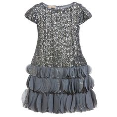 Girls silver sequin shift dress by John Galliano. With capped sleeves, this fitted design has a hem made from discs of chiffon fabric printed with the designer's signature 'Gazette' print in metallic silver. Fully lined in silky satin, it does up at the back with a single button fastening.<br /> <ul> <li>100% polyamide</li> <li>Contrast: 96% nylon, 4% elastane</li> <li>Hand wash</li> <li>Fully lined</li> </ul> <br />