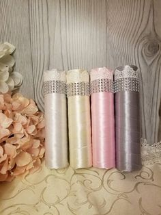 Bling Mesh Satin Wrapped Bouquet Holders Plastic Tubes