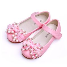 Cute Beaded Mary Jane Toddler Little Flower Girls Kids Pageant Shoes SKU-133091