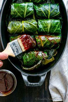 Tangy, hearty and pure comfort food! BBQ Black Eyed Pea Collard Rolls | Vegan, Vegetarian, Recipe
