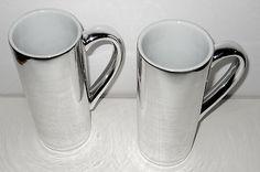 Mug Cup Tall Skinny Food Network Silver Finish x 2 Unique Coffee Tea Latte Cocoa