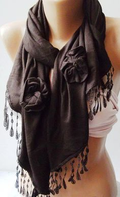 Brown  Elegance Shawl / Scarf with Lace Edge by womann on Etsy, $19.90