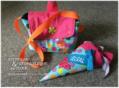 Jetzt auch als Set - Schultüte & Kindergarten-Tasche (Nähanleitung und Schnittmuster) von Do it yourself by shesmile.de auf DaWanda.com