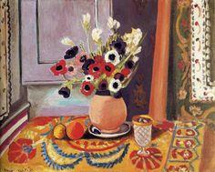 Henri Matisse, Anemones dans un vase de terre, 1924, oil on canvas, Kunstmuseum, Bern, Switzerland.