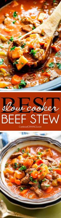 Slow Cooker Beef Stew - this is the best beef stew recipe I have ever tried! Super flavorful and SO Easy! You will want to drink the gravy broth! via @carlsbadcraving