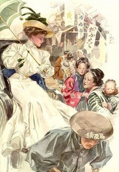 """The American Girl in Japan"" illustration by Harrison Fisher"