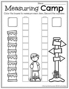 Measure Items at Camp! - Pre-k Camping Worksheets
