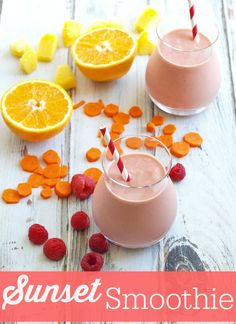 Sunset Smoothie-a perfect way to start your day! This yummy smoothie includes fruits and vegetables!
