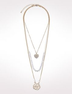 Layered Heart Necklace from dressbarn on shop.CatalogSpree.com, your personal digital mall.