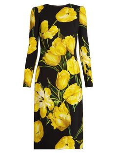 DOLCE & GABBANA Tulip-print long-sleeved crepe dress