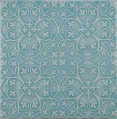 american handmade decorative ceramic tile pratt and larson Filigree pattern watercolor crackle aqua wall tile backsplash