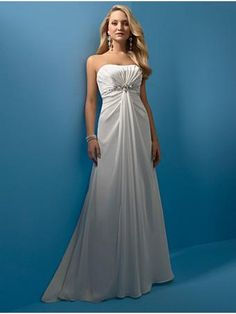 Ivory Strapless Beaded Empire Waist Soft Satin Simple Wedding Dress BOTS0990