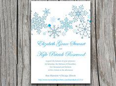Snowflakes Wedding Invite Microsoft Word Template - Winter Wedding Downloadable Wedding Invitation   Custom Colors by PaintTheDayDesigns, $7.75
