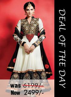 Today's deal of the day - Off White and Black Faux Georgette #Salwar #kameez with Embrodery,Patch Work and Lace Work Was Rs. 6,199, Now only Rs. 2,499. Grab your piece before the deal closes! Shop Now - http://zohraa.com/black-faux-georgette-suit-mhrani211.html
