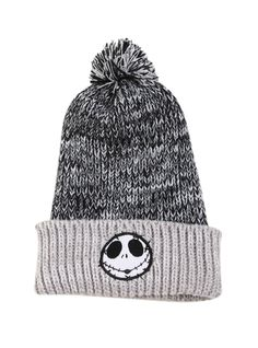 The Nightmare Before Christmas Jack Fold-Over Pom Beanie | Hot Topic