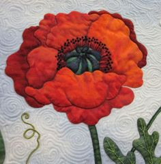 close up of Poppy Soliloquy by Sandra Leichner.  Photo by The Noble Wife: Amazing Applique