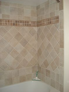 Simple, Yet Interesting Shower Tile Design Using 6x6u0027s. Changing The  Direction Of Tile Is