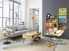 salon gris et bois clair maisons du monde