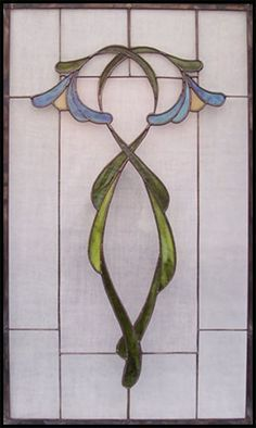 art nouveau organic leaded glass template pattern - Google Search
