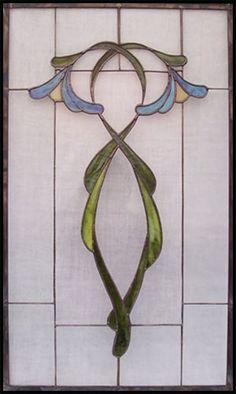 art nouveau organic leaded glass template pattern - Google Search