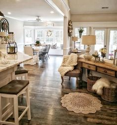 house ideas insane farmhouse living room decor and design ideas 24 Home Living Room, Living Room Designs, Kitchen Living, Cottage Style Living Room, Open Living Rooms, Open Floor Plan Living Room And Dining, Apartment Living, Living Room With Windows, Farmhouse Living Rooms