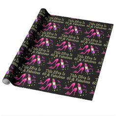 AWESOME 60TH BIRTHDAY DIVA DESIGN WRAPPING PAPER This 60 year old will sparkle and shine in our sizzling 60th birthday T Shirts and Gifts. http://www.zazzle.com/jlpbirthday/gifts?cg=196545043849107961&rf=238246180177746410 #60yearsold #Happy60thbirthday #60thbirthdaygift #60thbirthdayidea #happy60th