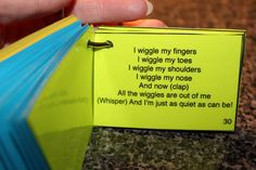 """I wiggle my fingers. This is a cute song to get children to be quiet and attentive for the beginning of story or circle time. It goes pretty well with the tune of """"skip to the lou"""" just slightly adapted. Preschool Music, Preschool Classroom, In Kindergarten, Preschool Activities, Therapy Activities, Toddler Classroom, Free Preschool, Classroom Ideas, Songs For Toddlers"""