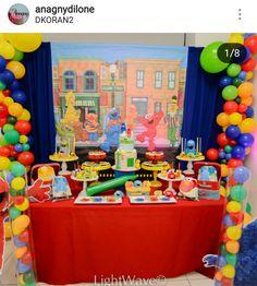 Sesame Street Birthday Party Dessert Table and Decor 2 Year Old Birthday Party, Birthday Party Desserts, Second Birthday Ideas, Elmo Birthday, Third Birthday, Boy Birthday Parties, Sesame Street Party, Sesame Street Birthday, Cookie Monster Party