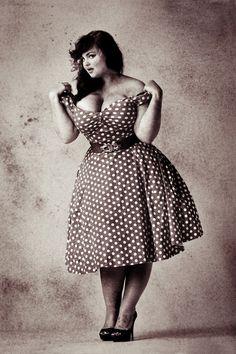 Plus size retro polka dot dress