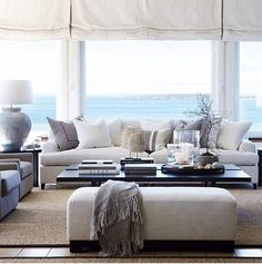 Modern Coastal Living Room Interior Ideas – Decorating Ideas - Home Decor Ideas and Tips - Page 79 Beach Living Room, Coastal Living Rooms, Living Room Interior, Home And Living, Home Interior Design, Living Room Decor, Living Spaces, Interior Ideas, Coastal Cottage