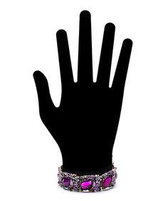 Frosted Flower Flexible Cuff - Purple  $7.50
