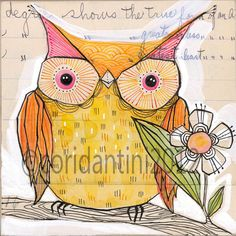 yellow owl - watercolor painting - print - wall art - 8 x 8 - limited edition archival print by cori dantini
