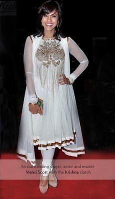 Mansi Scott - Indian TV personality and singer carries the Rachana Reddy 'Krishna' bag   #mansiscott #rachanareddy #wood #woodenclutch #clutch #fashion #accessory #madeinindia  #krishna #india #bollywood #celeb   Shop here: www.rachanareddy.com