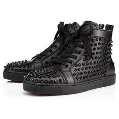 LOUIS WOMAN FLAT SPIKES,BLACK,Calf,Women Shoes,Louboutin.