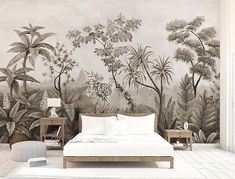 Frans Jungle schets behang Verwisselbare Wallpapers